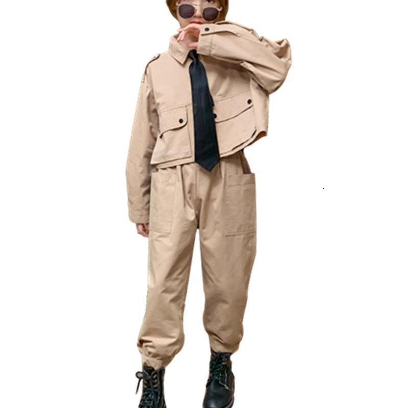 2021 Новый набор осенью подростковый подросток смокинг галстук + зарядные штаны из двух частей костюм 5-14Y большая мода одежда девушки 4AXD