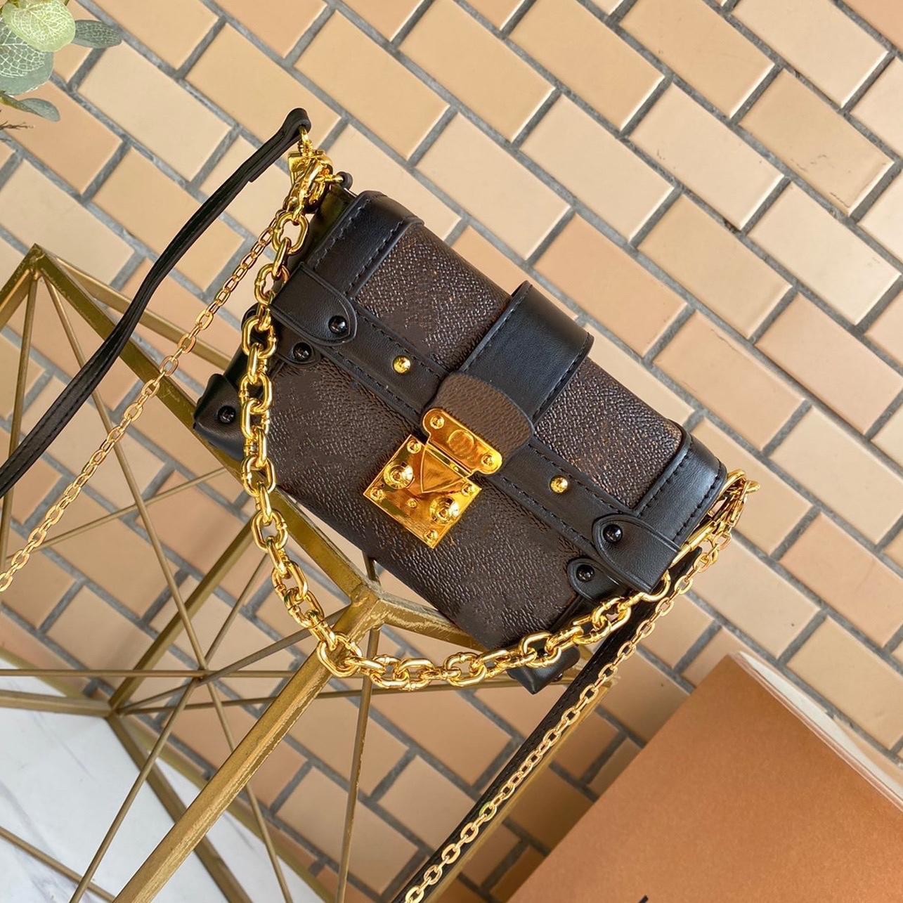 필수 트렁크 미니화물 상자 모양 패션 금속 스 터 드 및 작은 보물에 대 한 완벽 한 자물쇠 크로스 바디 작은 여성 멋진 가방