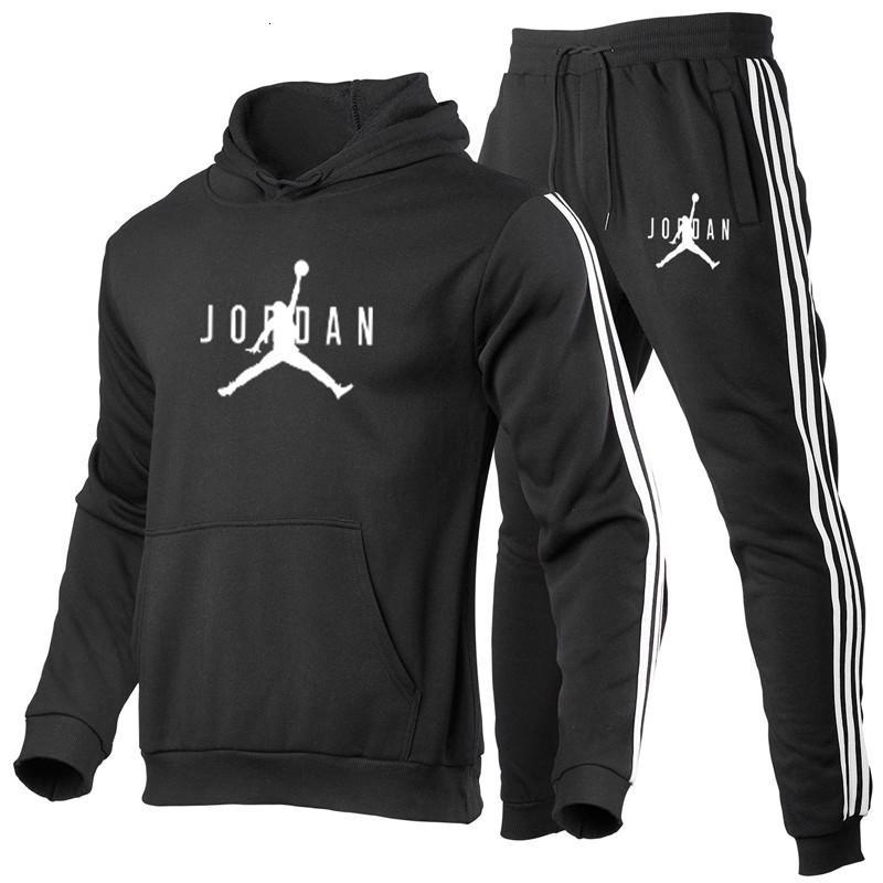Мужская осень и зимняя капюшона мода напечатана спортивная одежда спортивный спортивный костюм