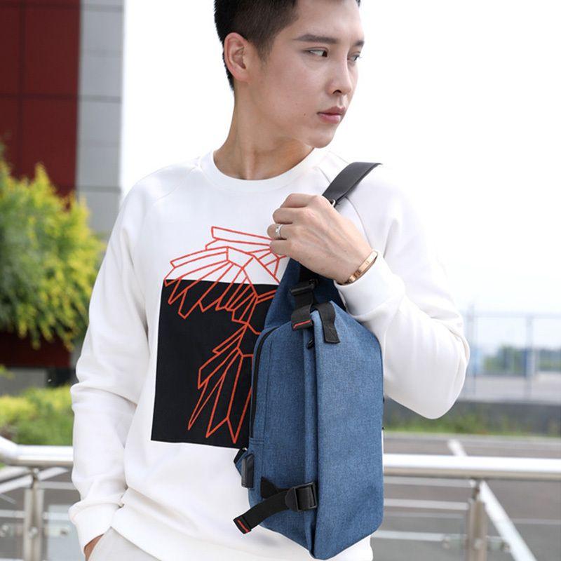 Men chest bag external USB charging fashion leisure sports travel crossbody bag small cotton fabric design shoulder bag C76 C0305