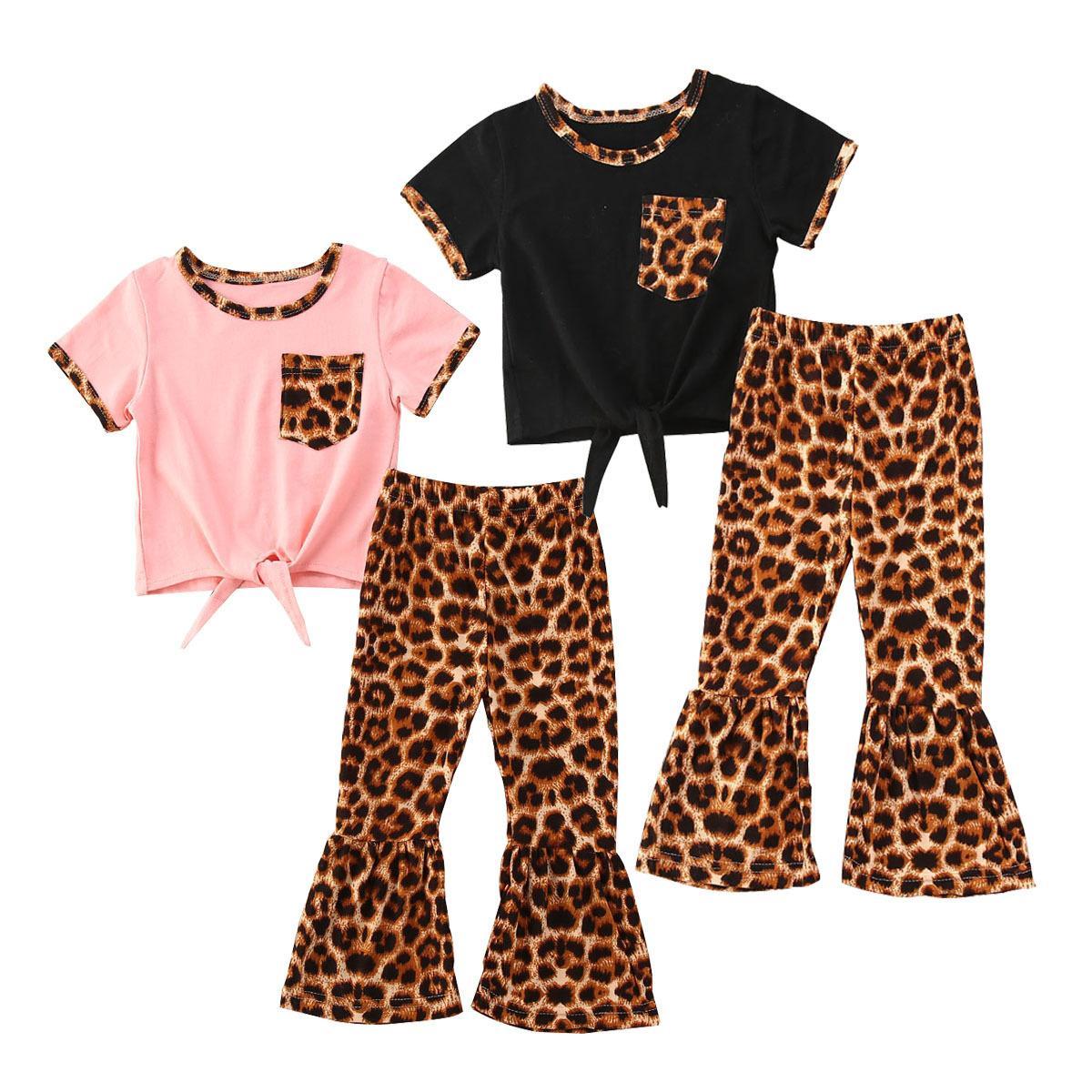 Varejo / Atacado Girl Leopard Leopard Flared Tracksuit Conjuntos de roupas 2pcs Set Curto Topo + Calças Meninas Outfits Crianças Designers Roupas