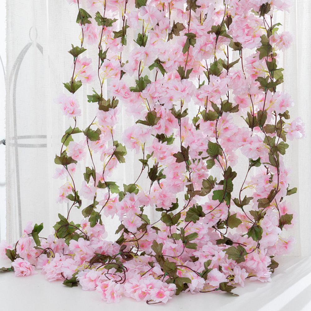 210cm Silk Sakura Simulation Cherry Blossom Flower Vine Wedding Decoration Layout Home Party Rattan Wall Hanging Garland Wreath