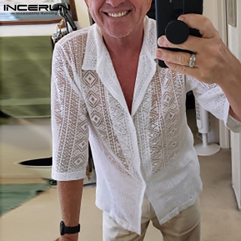 Camicie casual da uomo 2021 camicia da uomo maglia maglietta vedere attraverso il risvolto sexy manica corta a maniche corte pulsante camisa masculina streetwear party nightclub top 5xl