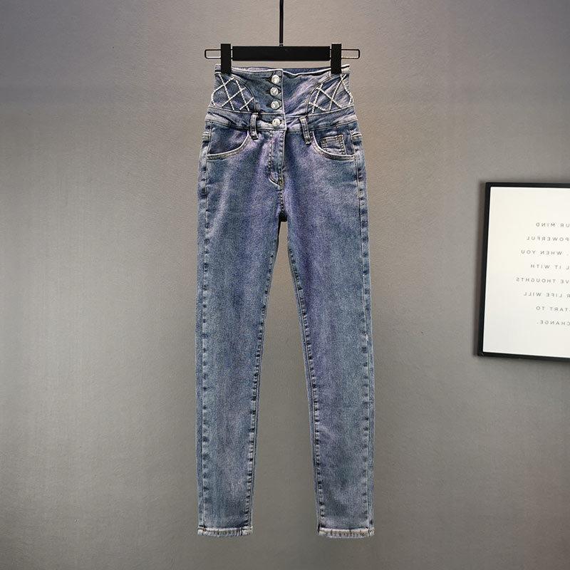 Moda Diamante Lápiz Mujeres 2021 Primavera Otoño Nuevo Algodón Elástico Alto Cintura Slim Jeans Chicas NY Pantalones de mezclilla