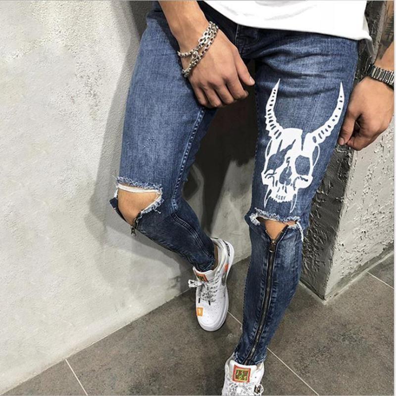 Männer Kleidung Hip Hop Sweatpants Skinny Motorrad Jeans Hosen Reißverschluss Designer Black Jeans Herren Casual Men Jeans Host