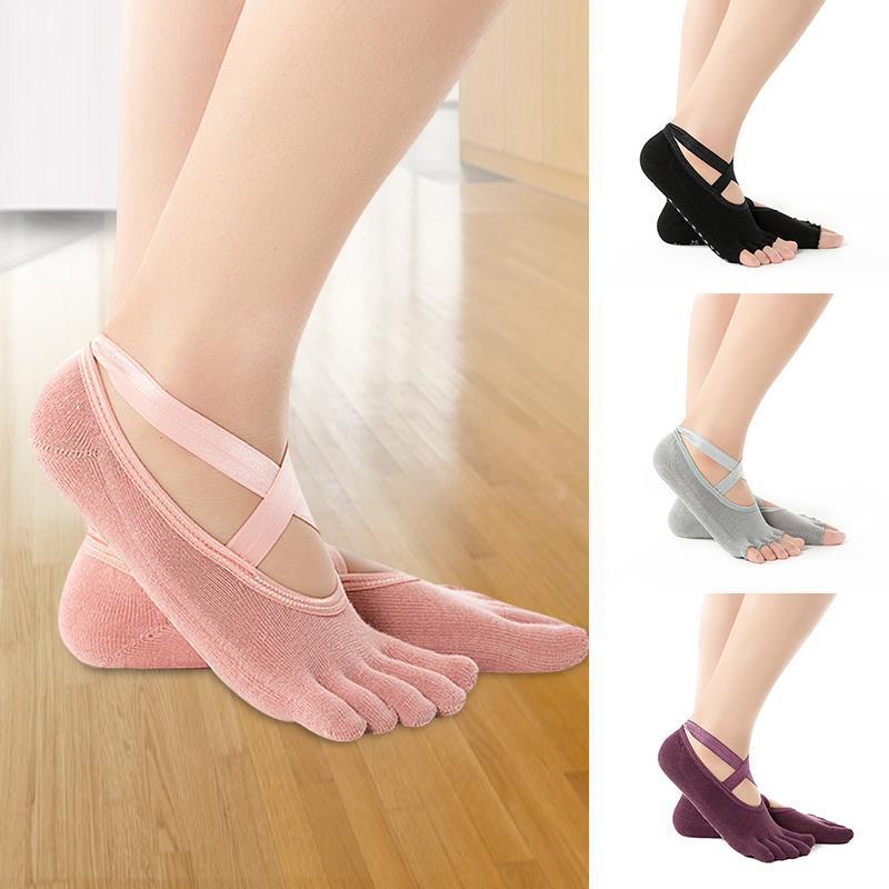Recém-feminino meias invisíveis meia / meias de ioga de dedo total com pontos anti-deslizamento meia de algodão respirável com cinto transversal para dançarina
