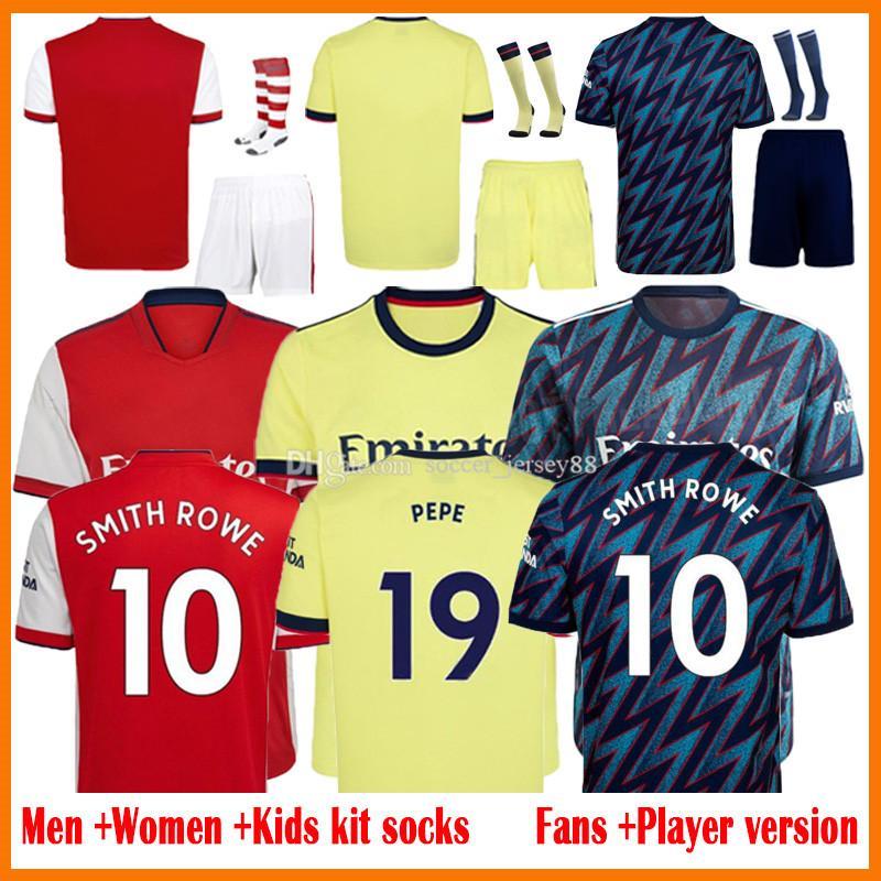 21 22 Pepe Saka Soccer Jerseys Fan Player Version Gunners Arsen Ødegaard Thomas Willian Nicolas Tierney Smith Rowe Jersey Men + Kits Kits 2021 2022 Camisetas de fútbol