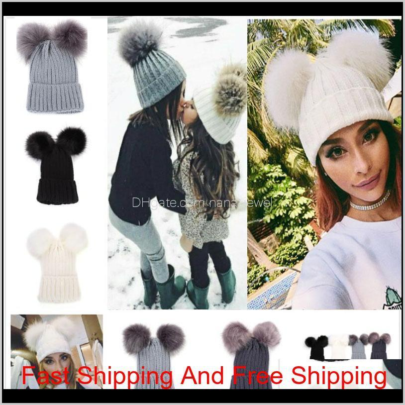 Knitting Warm Hats With Double Fur Ball Pop Winter Beanie Hats Mom And Baby Family Matching Outfits Newborn Kids Baby Crochet Caps 2Mc Jxvdh