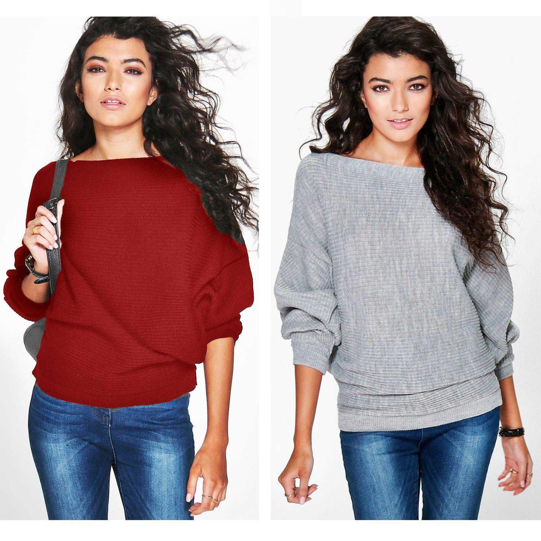 Viento de color sólido suelto de gran tamaño MM MM Tipo de murciélago T-shirt Pullover de mujer Cuello redondo Suéter de manga larga S