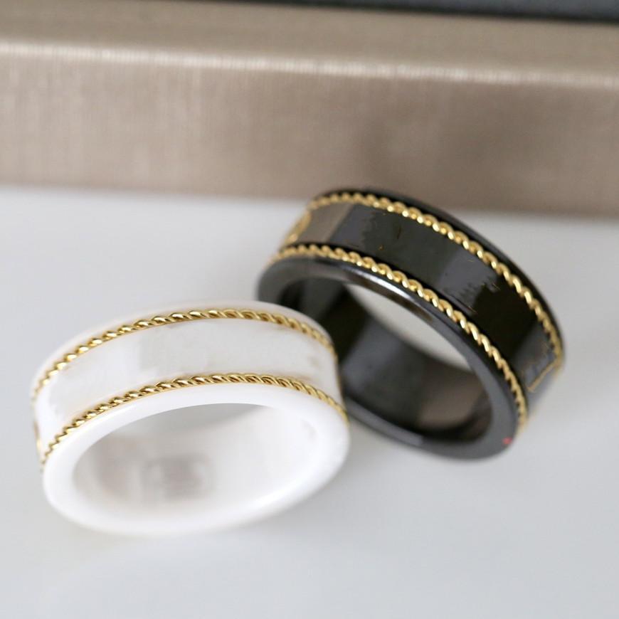 18K Oro Pareja Anillo Moda Simple Letra Anillos Para Mujer Calidad Material De Cerámica Moda Fashions Suministro