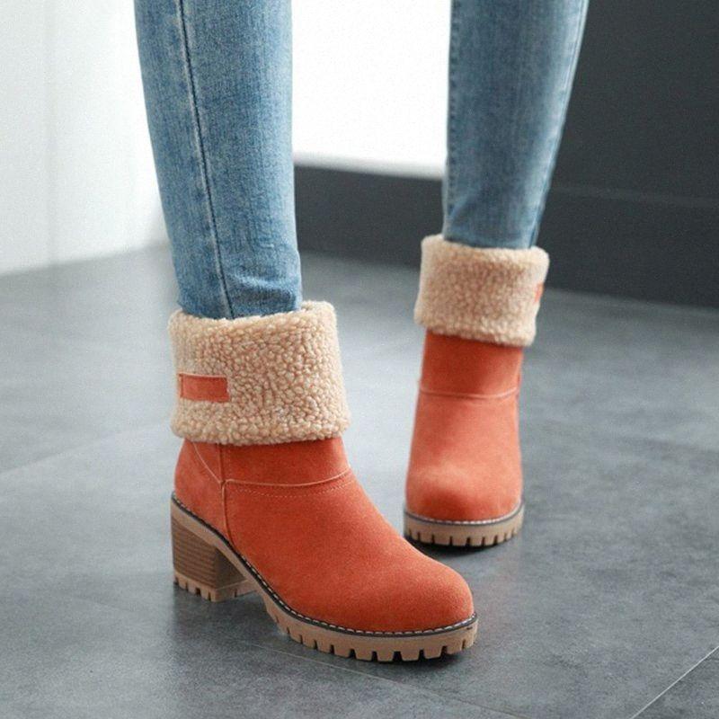 Kadınlar kar botları süet kalınlaşmış pamuk kalın taban orta topuklu kış ayakkabı J9 x62w #