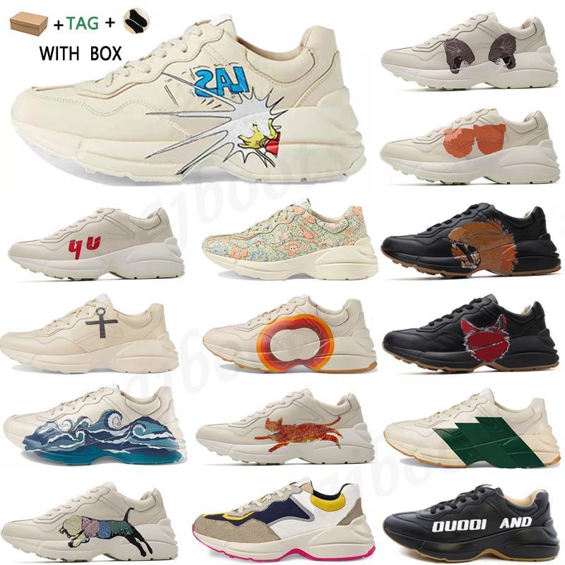 2021 rhyton vintage sapatilhas de couro homens sapatos mulheres casuais senhoras clássico couro branco grossa sola vintage treinador pai sapatos