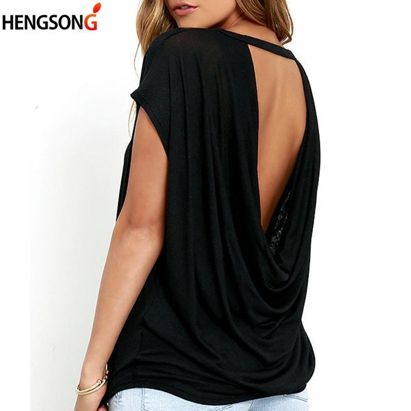Camiseta para mujer Mujeres Casual Sin espalda Manga corta Tshirt Sumar suelto O-cuello Tops Tees Negro Blanco Abierto Back T Shirt