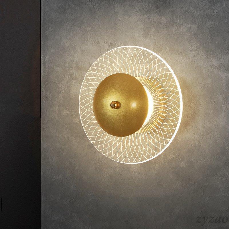 Runde Kreative Luxus Schlafzimmer Nachttischlampe Studie Korridor Treppen Wandleuchte Nordic Einfache Wohnzimmer Hintergrund Lampen