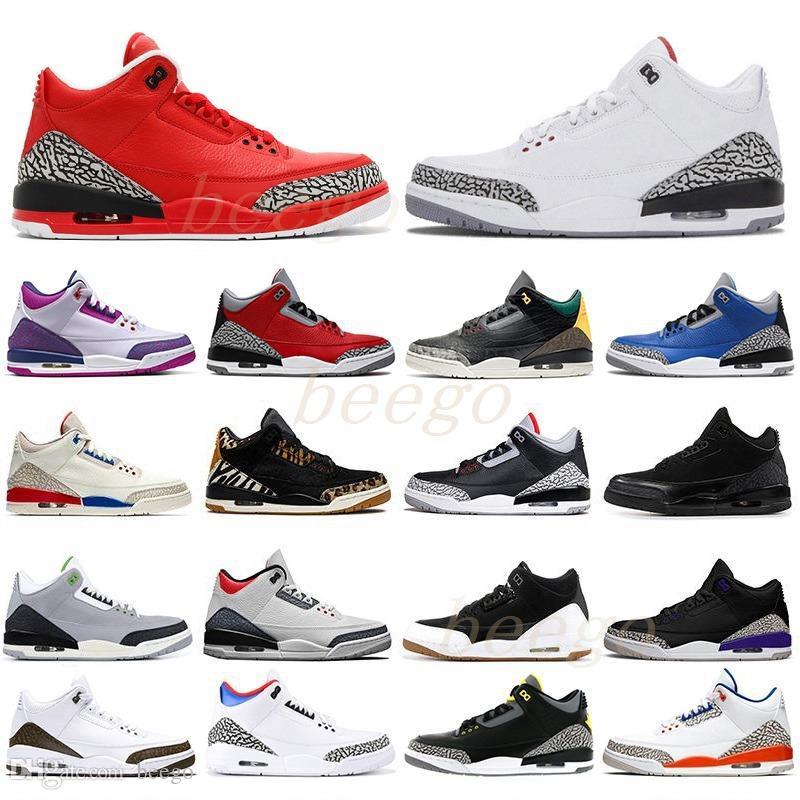 air jordan jordans aj3 jordon retro retros Jumpman 3 3S Fragment UNC Rouge Noir Blanc Ciment Varsity Vol Royal Vol Hommes Plateforme Extérieur Sport Basketball Chaussures 2021 #