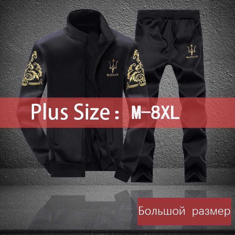 Erkekler Eşofman Polyester Kazak Spor Polar 2020 Spor Salonları Bahar Ceket + Pantolon Rahat erkek Spor Fitness Artı Boyutu 8XL X0610