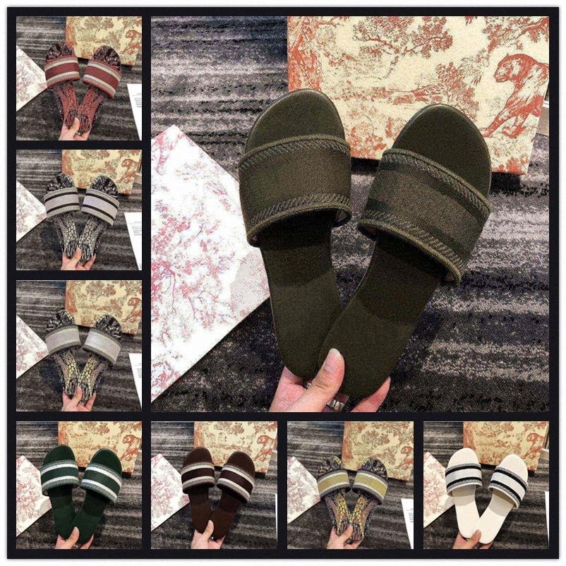 2021 Yeni Tasarımcılar Deri Bayanlar Sandalet Yaz Düz Terlik Moda Plaj Kadın Büyük Kafa Terlik Gökkuşağı Harfleri Terlik Boyutu 36-40 Q9H4 #