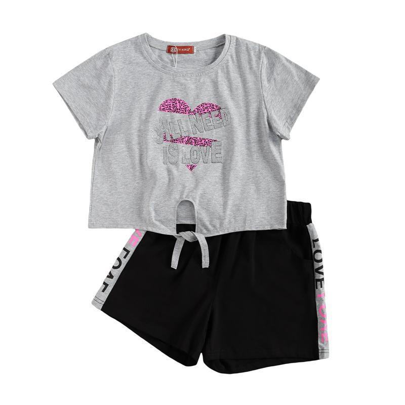 Summer Girl Ropa Set de impresión Manga corta Personal Top y pantalones cortos Pantalones cortos Trajes de 2 piezas Conjuntos de ropa para niños Conjunto de dos piezas