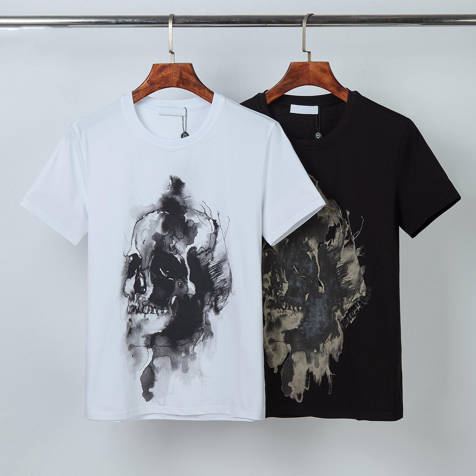 2021 클래식 두개골 스타일리스트 남성 T- 셔츠 # 0011 유럽 파리 패션 여름 짧은 소매 럭셔리 캐주얼 탑 디자이너 amq 남성 3D 인쇄 티셔츠