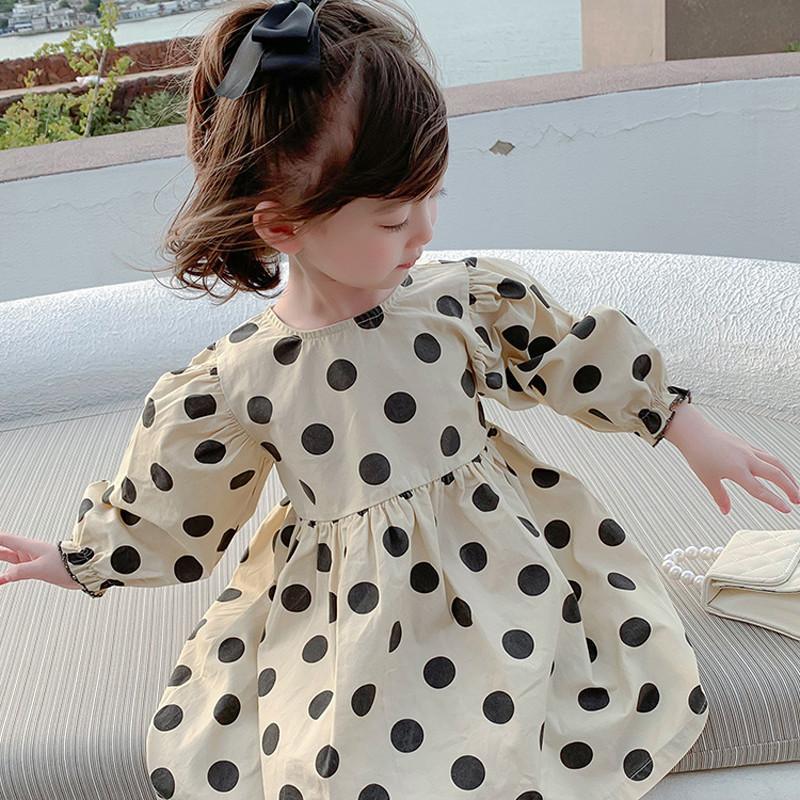 2021 primavera novo vestido bebê estilo coreano estilo ocidental menina menina de manga longa bolinhas vestido de princesa 1983