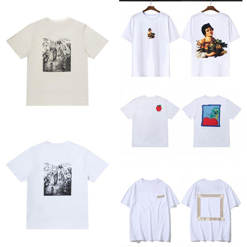 Mens été T-shirt de haute qualité de haute qualité couples couples unisexe manches courtes imprimées imprimer femmes de luxe col rond coton Taille S-XL