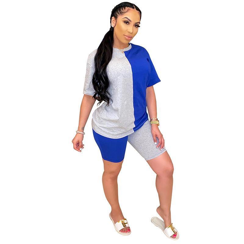 Tute da donna 2021 Summer Fashion Big Size Contrast Color Manica Corta T-Shirt T-Stringimento Casual Shorts Sexy in due pezzi Set