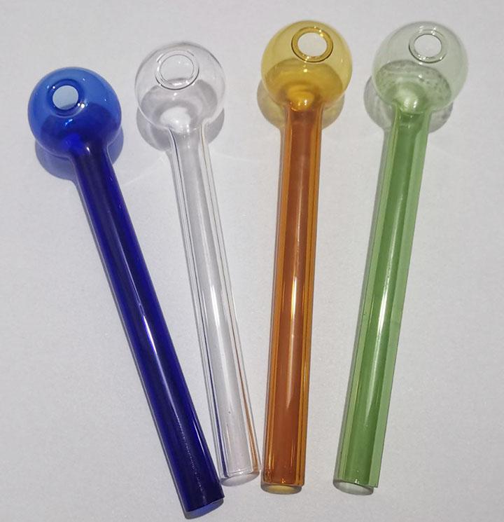 Vendi a buon mercato Colorati 12 cm Bruciatore di olio Bruciatore di vetro spesso tubi di vetro colorato Tubo di vetro in vetro ciotola di olio blu verde ambra trasparente colori miscela