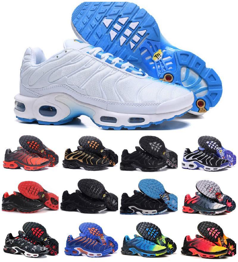 Üst Moda TN Artı Erkek Koşu Ayakkabıları Artı TN Ortalama Yeşil Üniversitesi Kırmızı Siyah Gümüş Beyaz Volt Glow Lava Bayan Erkek Eğitmenler Sneakers