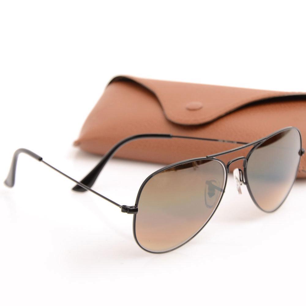 Nuovo designer di vetro classico occhiali da sole occhiali custodie gradiente lente occhiali da sole pilota mens gradiente occhiali da vista 58mm marca con donna TCFE