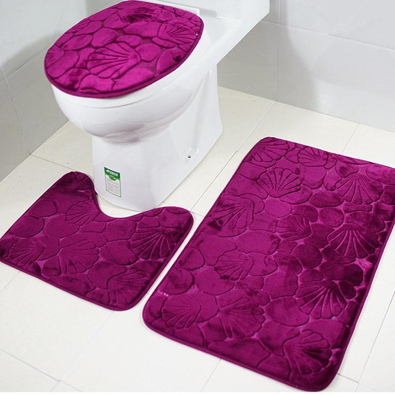 3шт / набор 3D фиолетовый оболочков ванной коврик для ванной комнаты для туалетов