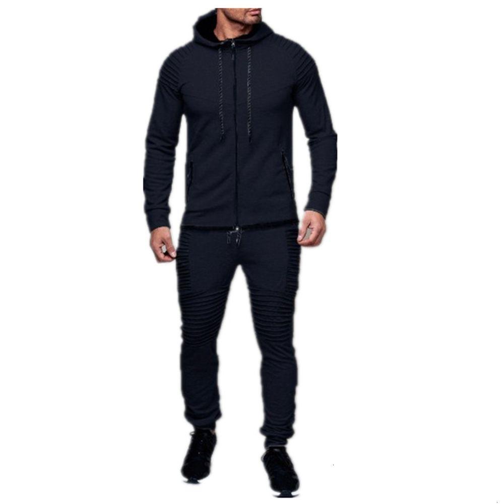 2021 Nuovo Sport da uomo Casual Sweater Solid Color Cardigan Top Set Tracksuit