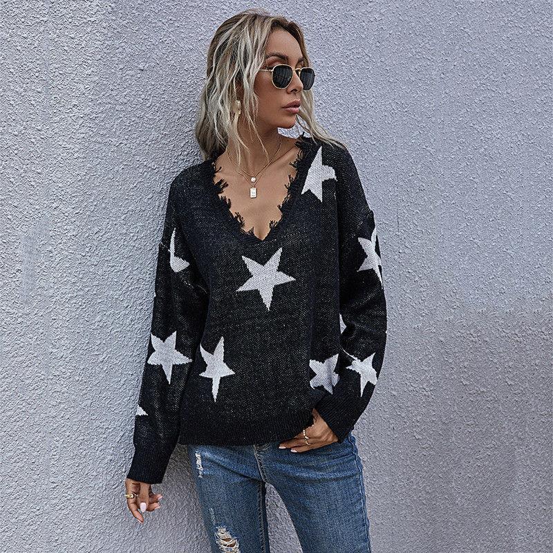 2021 осень зима v шеи кисточка чередушка звезды шаблон полного рукава вязаные пуловеры свитер вершины для женщин новый jnfx