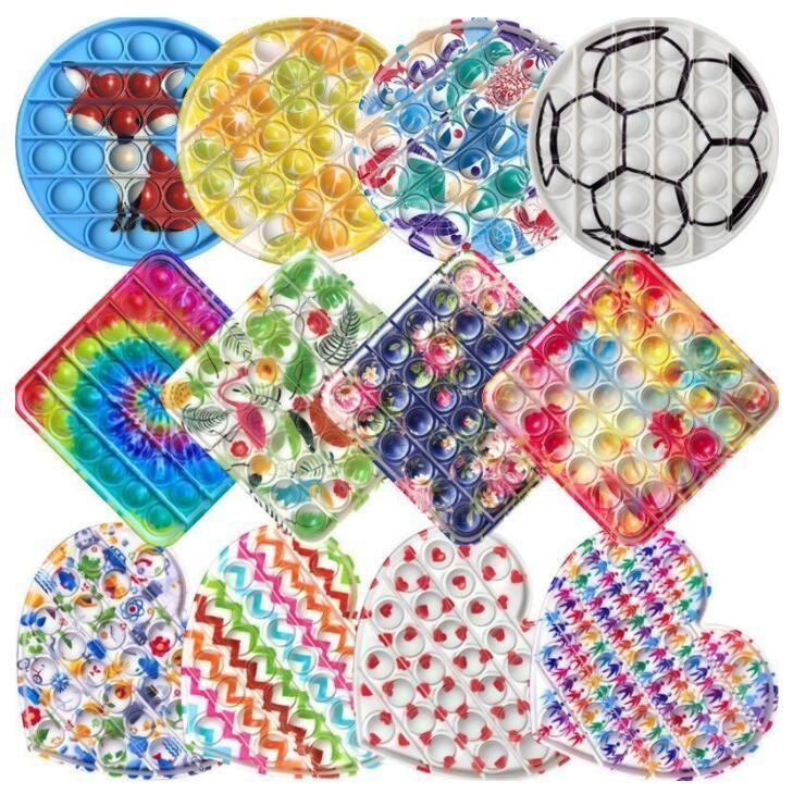 Amerikaanse voorraad 2021 push it fitget speelgoed print game voor volwassen kind duw bubble sensorische decompressie speelgoed autisme speciale behoeften stress reliever DHL verzending BJ21