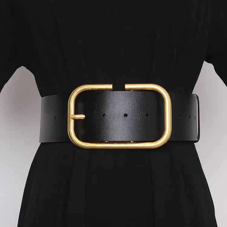 Cinturones para mujer Cinturones de cintura Cinturón de mujer Ancho de hebilla lisa 8.5 cm 4 colores opcional de alta calidad de cuero de vaca
