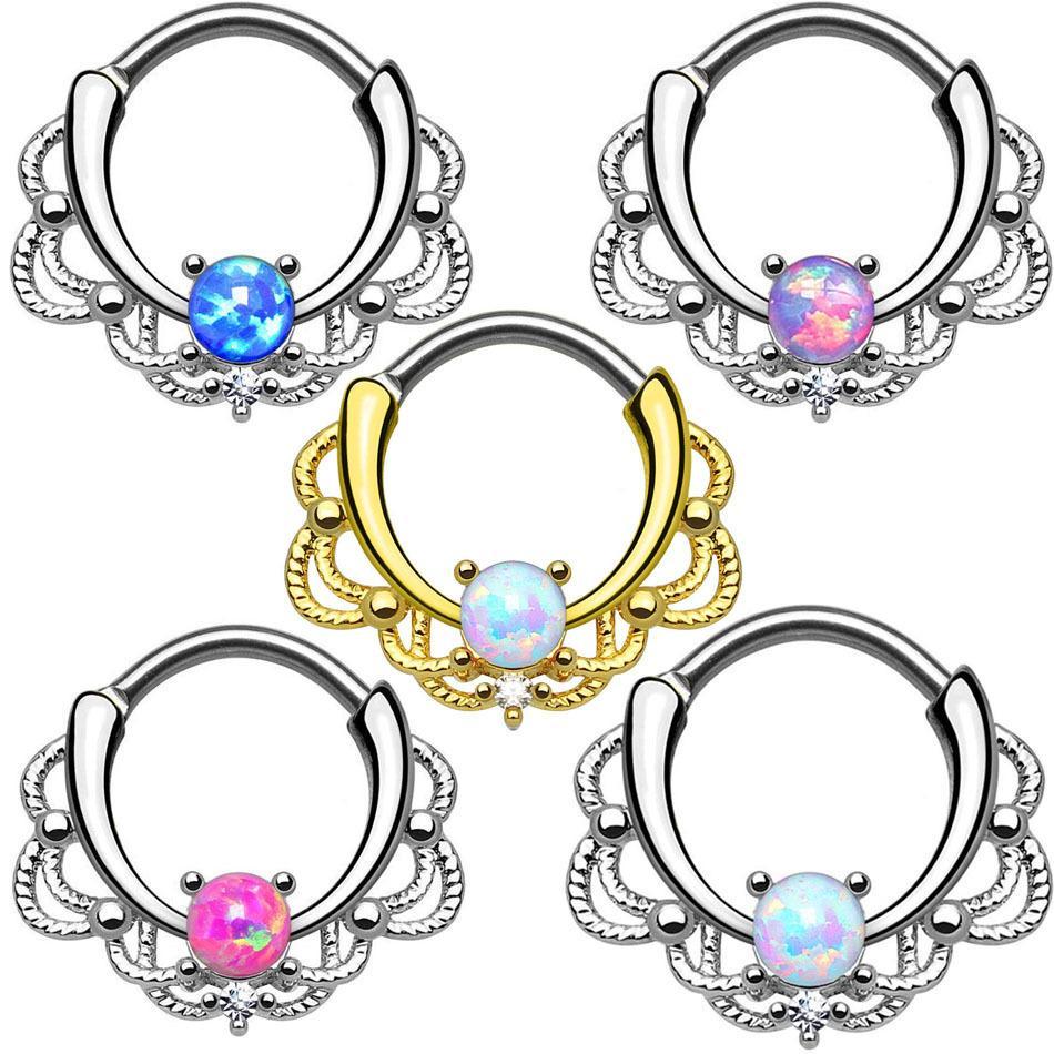 Vendita calda in acciaio inox Aobao anello naso opale pietra naso naso chiodo gioielli di puntura popolare