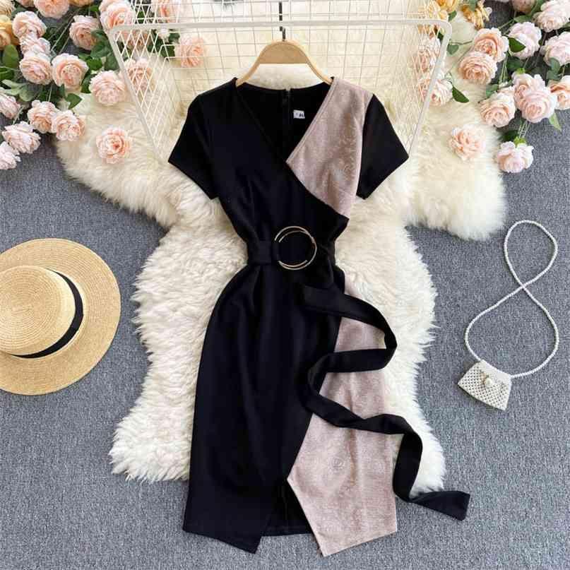Damen Kleid Sommer Mode Patchwork Kurzarm V-Ausschnitt Gürtelte Hohe Taille Kreuz Front Split Koreanische ol Arbeit 210603