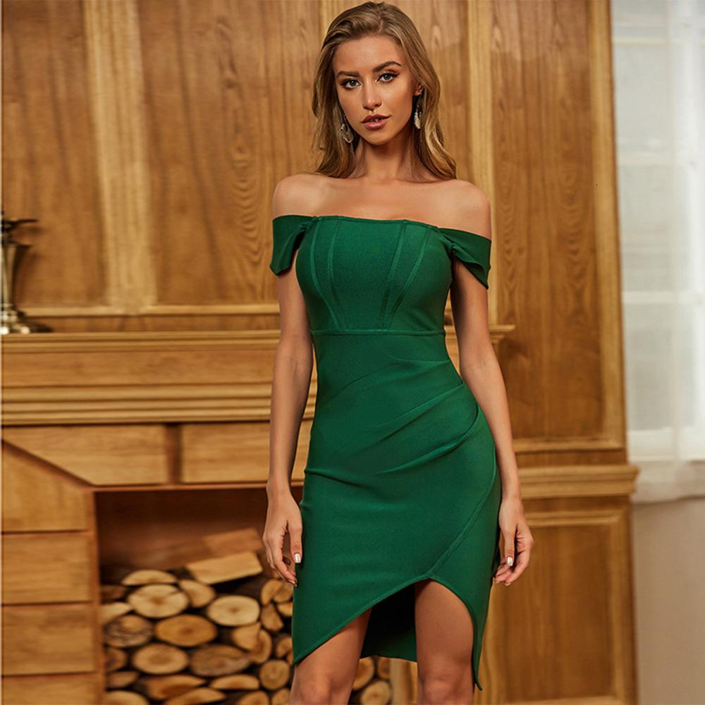 2021 estate drappeggiata fuori spalla nuova donna verde mini bendaggio bodycon sexy club party es f79o