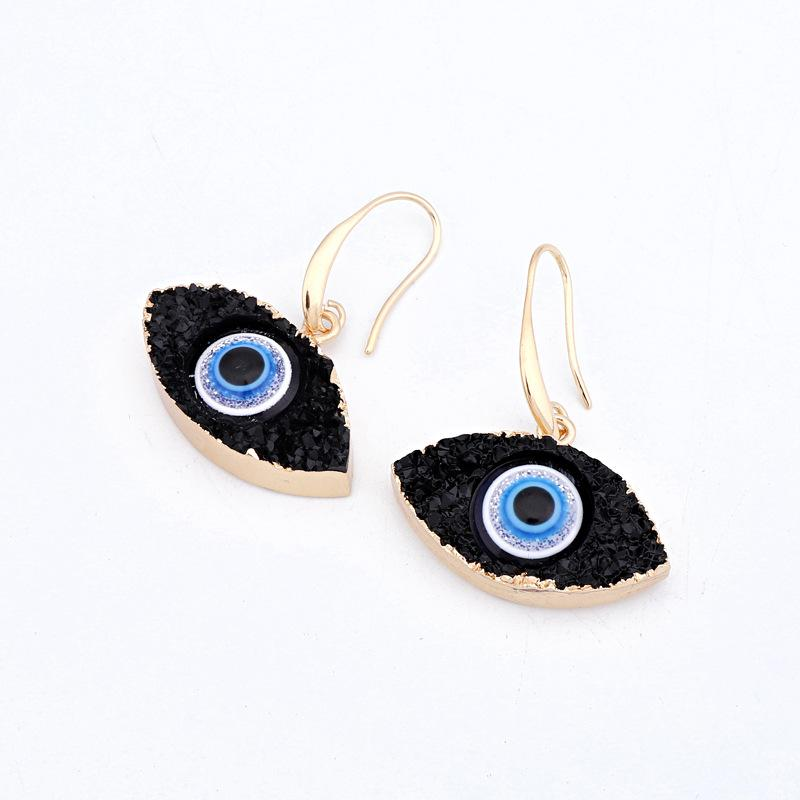 Moda Eye Druzy Drusy Brincos Banhado A Ouro Geometria Faux Stone Natural Ressin Brincos Para As Mulheres Jóias