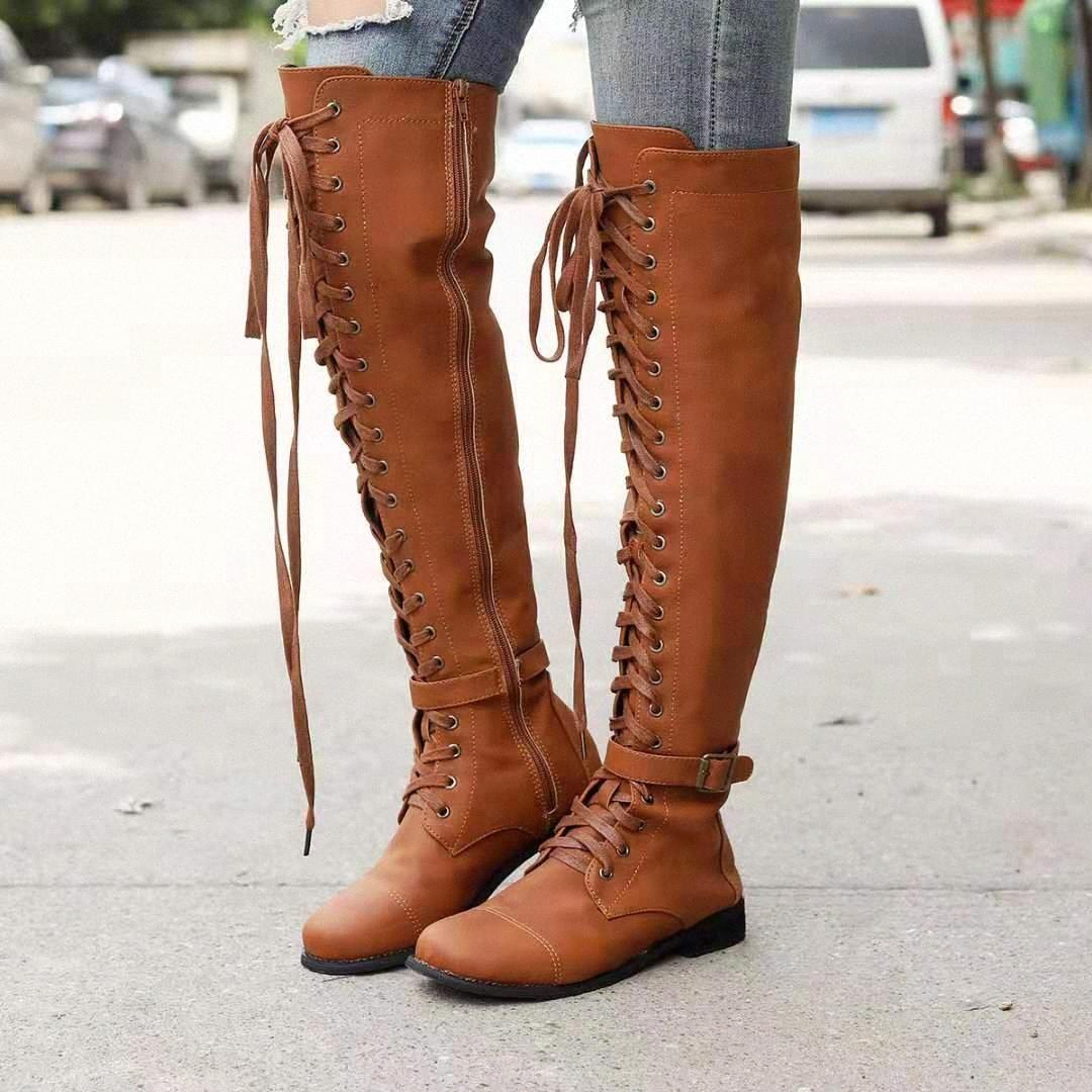 Chaussures de femmes de Monerffi 2019 Printemps et été Nouvelle mode de mode avec daim sur les bottes plates du genou Bottes Femmes Bottes 2019 A1FU #