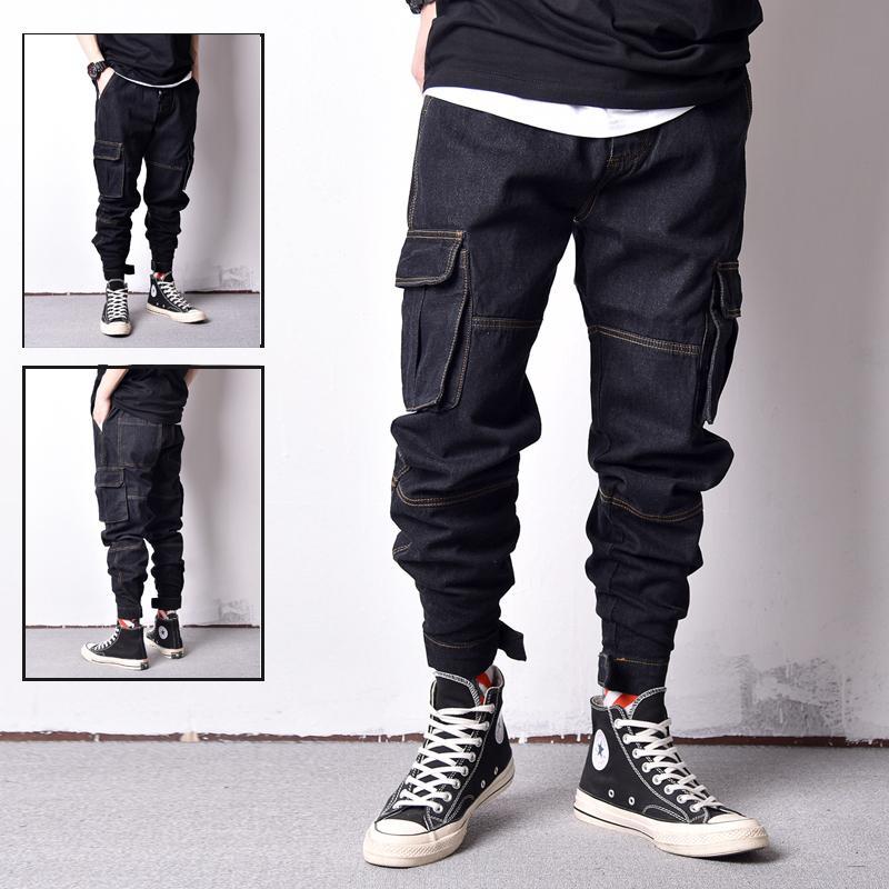 Stil Vintage Japon Tasarım Orijinal Renk Eklenmiş Moda Gevşek Fit Büyük Cep Kargo Pantolon Hip Hop Jogger Jean 0Ahm