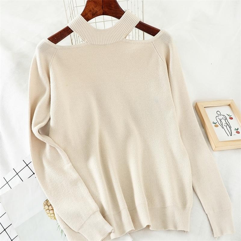 Heliar Donne Off Sweater Maglione per le donne Halter Fashion Manica lunga Casual Solid Maglia PullOvers Femme Maglione Autunno LJ201017