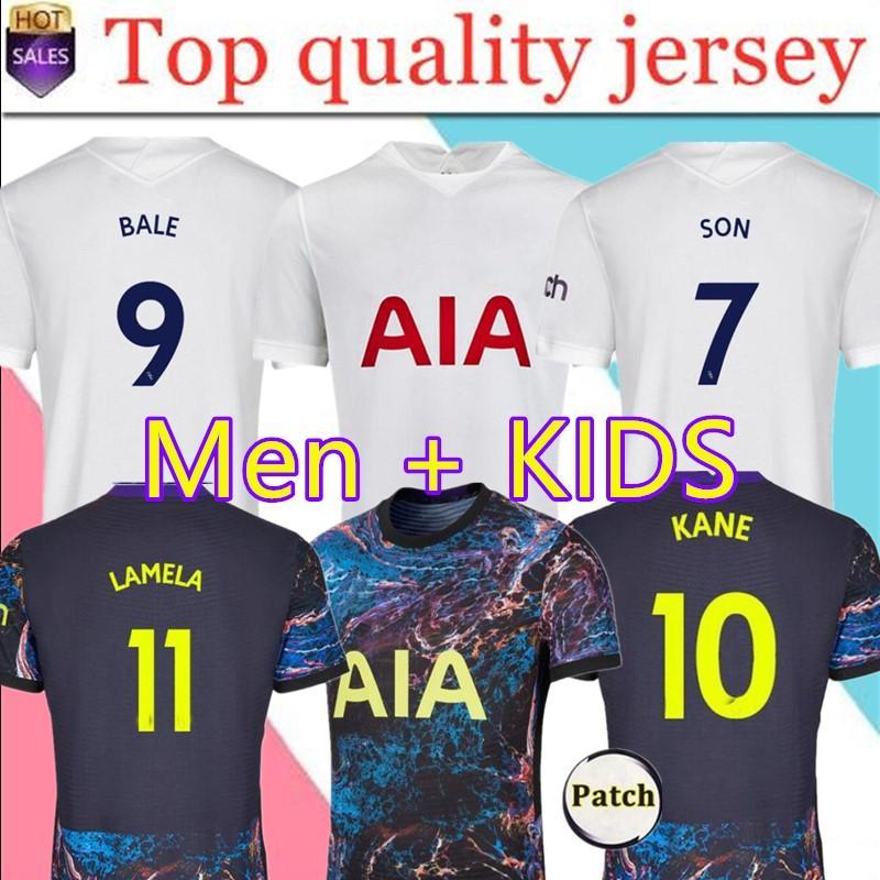 22 Kane Son Bergwijn Ndombele 홈 축구 유니폼 2021 토트넘 4th Lucas Dele Jersey 축구 셔츠 Lo Celso Bale 성인 남성 + 키트 키트