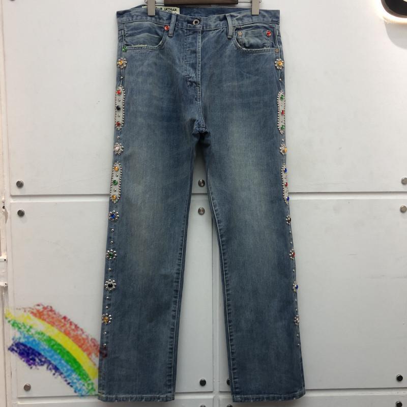 Männer Jeans Kapital Vintage Intraid 2021 Edelstein gewaschene Benommenheit Männer Frauen 1: 1 Hohe Qualität Hosen Hose1