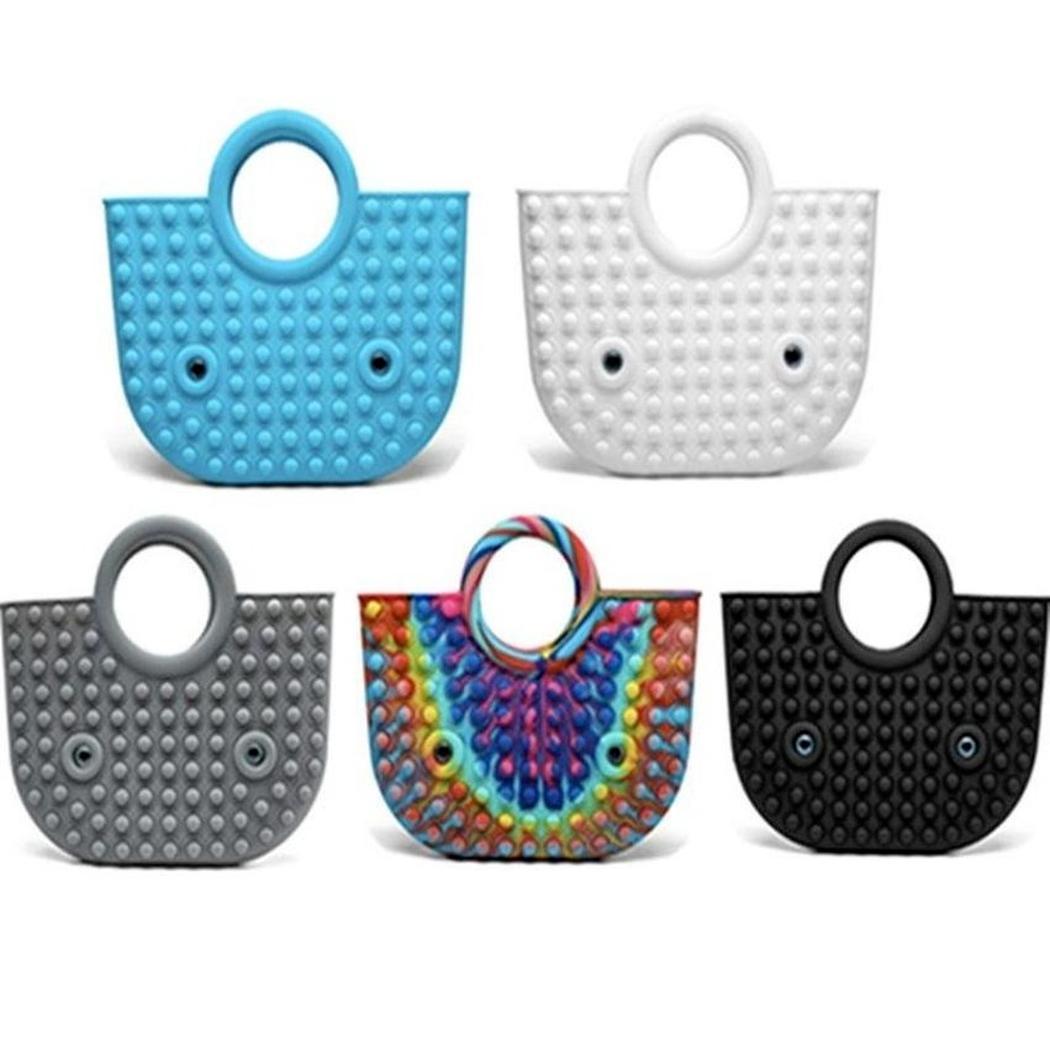 Handbag Push Bubble Fidget Toy Party Favor 35*30cm Totes Creative Storage Bag Rainbow Silicone Stress Reliever Sensory Toys