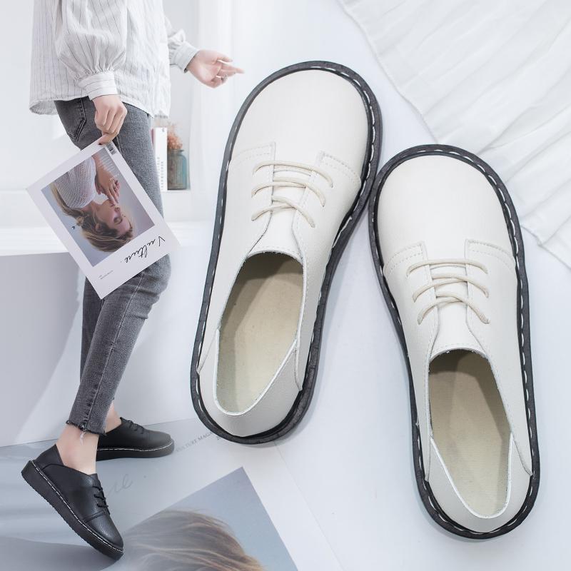 2020 Sonbahar Kadın Oxford Ayakkabı Lace Up Platformu Deri Ayakkabı Dikiş Lolita Ayakkabı Retro Yuvarlak Ayak Flats Kızlar Casual Siyah 8777N