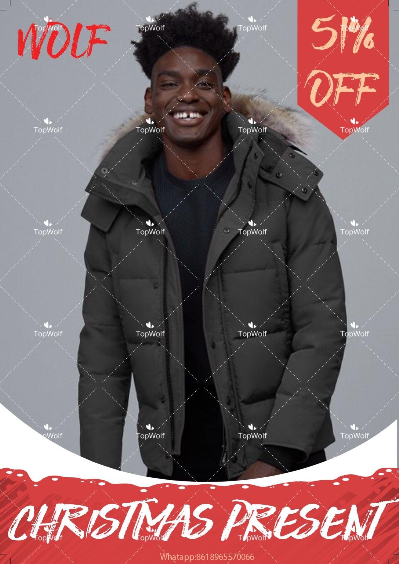 Top Männer Winter Wolf Fu Travel Parka Daunenjacke Lange Puffermäntel Warme Mantel Jaqueta Mantel Outwear