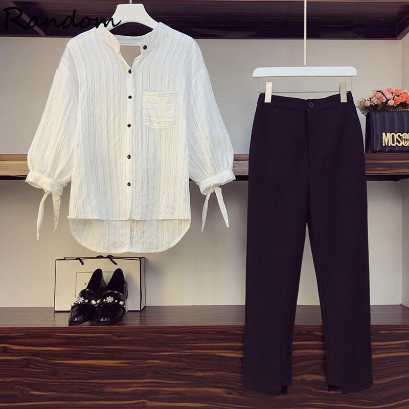 Plus Размер L-5XL Женщины Брюки костюма Полосы рубашки Верхняя и прямая трусь Две частей набор 2021 Летняя Офис Леди Рабочая одежда Одежда одежды