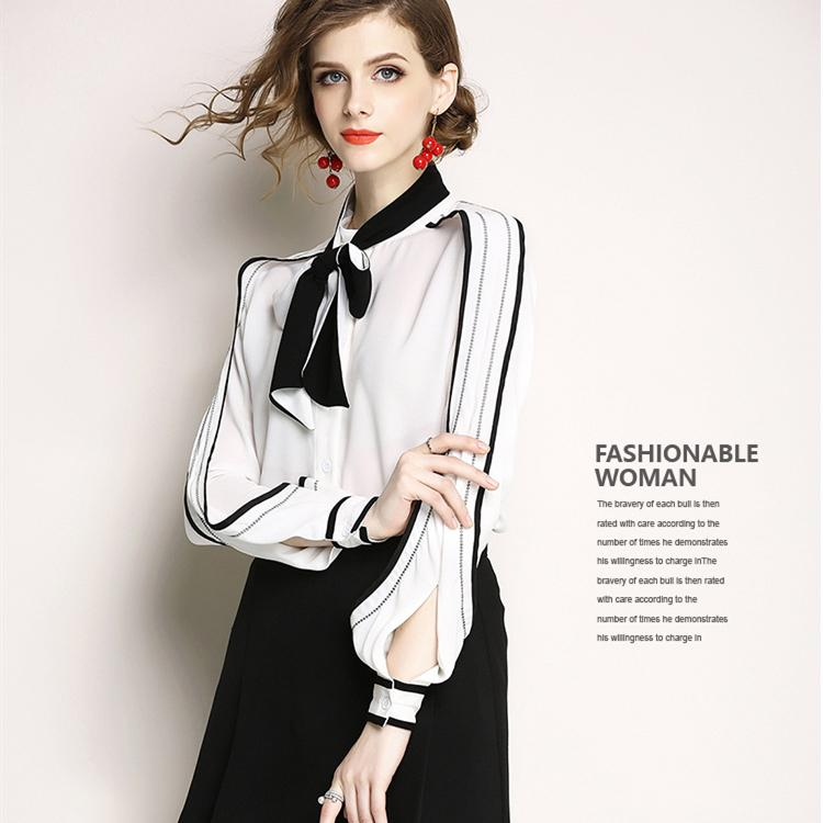 Новый 2021 Весенний контрастный цвет лук рубашки с длинным рукавом женские тонкие взлетно-посадочные полосы блузки плюс размер осень зима офиса дамы дизайнерские вершины