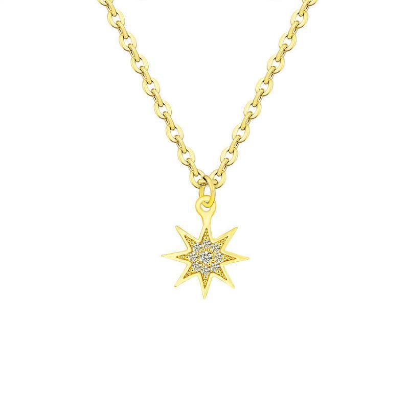 Mode pavée cz pierre nord étoile collier cristal femmes géométriques chahute colliers gold couleur chaîne chaîne bijoux cadeau de mariage