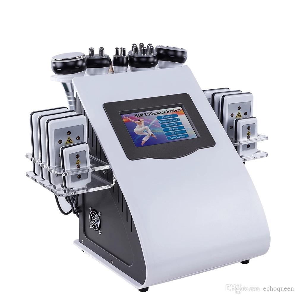 6 in 1 40K 초음파 Cavitation 슬리밍 진공 무선 주파수 프레소 8 패드 레코딩 레이저 다이오드 RF 체중 감소 바디 쉐이핑 머신